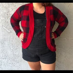 Red and black buffalo plaid cardigan large